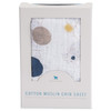 Cotton Muslin Fitted Crib Sheet, Planetary