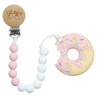Teether with Clip, Pink Donut Sprinkle