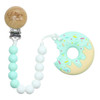 Teether with Clip, Mint Donut Sprinkle