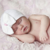 Newborn Bow Hat, White Bow Pink Ribbon