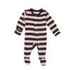 Organic Footed Overall, Eggplant/Stone Stripe