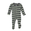 Organic Footed Overall, Grey/Seafoam Stripes