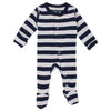 Organic Footed Overall, Navy/Light Gray Stripe