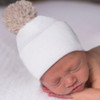Newborn Hat, Natural Pom