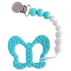 Silicone Teether Metal Clip Set, Butterfly Aqua/White