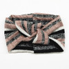 Twist Knot Headband, Mauve/Black/Ivory Stripe