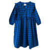 Mazzy Ruffle Dress, Blue Plaid