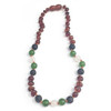 Raw Cognac Amber Teething Necklace, Lava/Jade/Agate