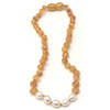 Raw Honey Amber Teething Necklace, Pearl