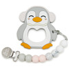Penguin Teether w/Beads, Grey