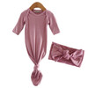 Bamboo Knotted Gown & Bow Set, Mauve Lilac
