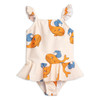Mini Rodini Whale Skirt Swimsuit, Orange