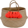Hand Woven Seagrass Basket, Coral Tassel