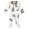 Organic Zipper Footed Overall, Bark Palm