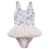 Rock Your Baby Tulle One Piece Swimsuit, Blue Striped Peony