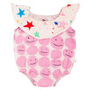 Collard Bodysuit, Pink Smiley