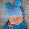 Newborn Double Pom Hat, Blue/White Stripe