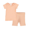 Short Sleeve Ribbed 2-Piece Outfit, Blush