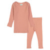 Long Sleeve Ribbed 2-Piece Outfit, Apricot