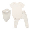Organic Cotton Gift Set, Egret (Bodysuit, Pants, Bib)