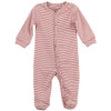 Organic Footed Romper, Rose Stripe