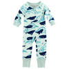 Organic Cotton Long Sleeve Zip Romper, Whales