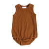 Ribbed Bubble Sleeveless Bodysuit, Rust