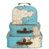 Set of 3 Suitcases, Vintage Maps
