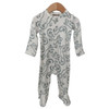 Snap Basic Footed Romper, Lizard Cloud White