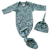 Knotted Gown & Hat Set, Lizard Seafoam