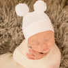 Newborn Double Pom Hat, White