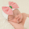 Newborn Bow Hat, Christmas Gingham Seersucker