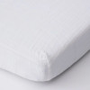 Cotton Muslin Mini Fitted Crib Sheet, White