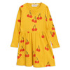Mini Rodini Cherry Long Sleeve Dress, Yellow