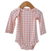 Long Sleeve Bodysuit, Pink Gingham