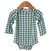Long Sleeve Bodysuit, Sea Green Gingham