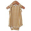 Sleeveless Bodysuit, Ochre Gingham