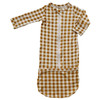Convertible Zip Gown, Ochre Gingham