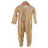 Ruffle Snap Footed Romper, Ochre Gingham