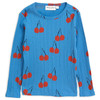 Mini Rodini Cherry Long Sleeve Tee, Blue