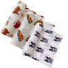 Muslin Swaddle 3-Pack: Cats, Frenchie Dog, Pizza