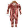 Ruffle Snap Footie, Brick Gingham