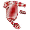 Knotted Gown & Bow Set, Brick Gingham