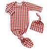 Knotted Gown & Hat Set, Brick Gingham