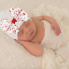 Newborn Bow Hat, White Candy Cane