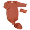 Knotted Gown & Bow Set, Rust