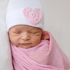 Newborn Hat, White with Pink Crochet Heart