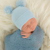Newborn Double Pom Hat, Blue