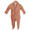 Organic Ribbed Ruffle Zipper Footie, Camel