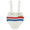 Knitted Suspender Shorties, Red/Blue